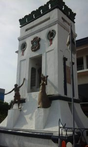 Early settler monuments before the Centennial Pavalion on Ashmun and front Streets