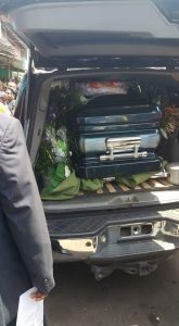 Casket bearing the remains readied for internment
