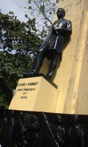 President statue up the Ducor Hill Montserrado