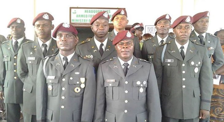 The General is seen here with Liberia's newly commissioned army crops