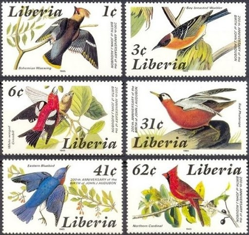 Ho Ho, dear reader, they are obviously in transit. Even the post office takes time these days to deliver on such promises. Trust me, they are really great-looking bird stamps. Birds, and lots of 'em. Hey, look out the window: there's a Liberian pterodactyl attacking that space monster in the park! WOW, did you see that? Incredible.