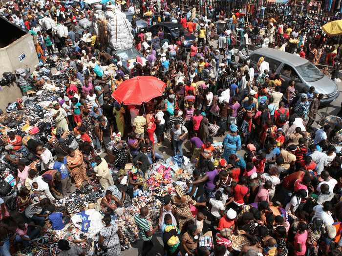 crowded african street /insider