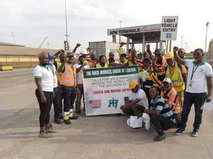 dock worker protest in liberia