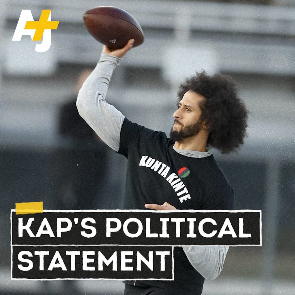 In recent years, musical artists such as Kendrick Lamar and Missy Elliott have written songs referencing Kinte, who remains a symbol of defiance to many. A former San Francisco 49ers quarterback, Kaepernick has also become a symbol of defiance after kneeling during the national anthem throughout the 2016 NFL season to protest inequality and racist police brutality.