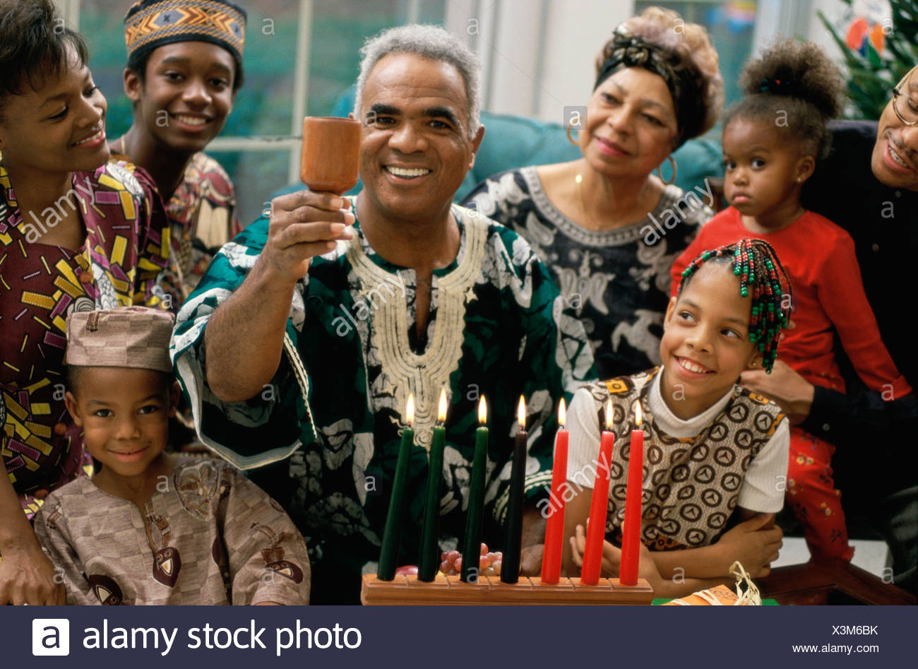 "Gifts are exchanged. On 31 December participants celebrate with a banquet of food often cuisine from various African countries. Participants greet one another with ""Habari gani"" which is Kiswahili for ""how are you/ how's the news with you?"" For further information about Kwanzaa, write to the University of Sankore Press, 2540 W. 54th St., Los Angeles, CA 90043. A children's book about KWANSA by Deborah Newton Chocolate is available through Childrens' Press, 1990, Chicago. Culled -Akwansosem is an outreach newsletter"