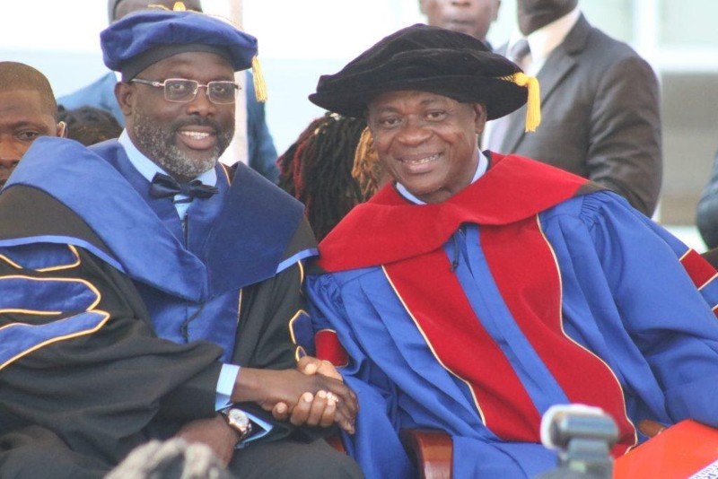 """Pres. George Weah and UL President, Dr. Julius Sarwolo Nelson I am making this case for over 17,500 students studying at the State-run University of Liberia (UL). I am channeling my disagreement with the latest """"e-Learning policy"""" through a number of cogent reasons."""